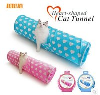 Wholesale Fashion popular collapsible heart pattern double color double polyester cloth material paper cat tunnel