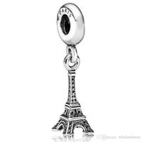 jewelry paris - Fashion Sterling Silver Charm Paris Eiffel Tower Pendant European Charms Silver Beads For Snake Chain Bracelet DIY Jewelry