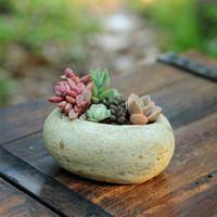 Wholesale Factory succulents artificial cobble cement flowerpot manual basins gardening tools without plant
