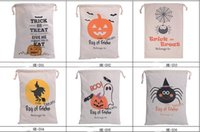 Wholesale 6 style Halloween Large Canvas bags cotton Drawstring Santa Bag With Pumpkin devil spider Hallowmas Gifts Sack Bags cm