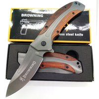 Wholesale Top Quality Browning Hunting knife Outdoor Camping tool Rosewood handle Folding Tactical Survival knives Box Gift