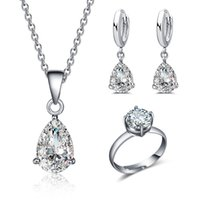 Wholesale White Gold Plated Women Jewelry Sets Cubic Zirconia Wedding Resizable Round Cut Rings Drop Earrings and Necklaces Piece Suit