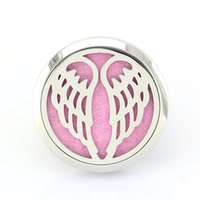aroma circle - 5PCS Silver MM Angel Wings L Stainless Steel Car Aroma Perfume Locket Pendant Essential Oil Diffuser Lockets