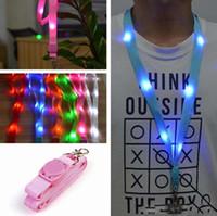 Wholesale 6 Color LED Nylon Neck Lanyard Strap Flashing Led Necklace ID Card Pendant Hanging Cord Rope For Men Women