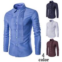 Wholesale New Men s long sleeved shirt Slim personality casual striped solid shirt M XXL Dress shirt Polos cotton blend turn down collar shirts