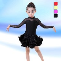 Wholesale Children Latin Dance Dress Long Sleeve Lace Sequin Vestido Kids Latin Dresses Girl Stage Performance Dancing Dress UA0162 smileseller