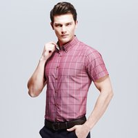 Wholesale 4xl xl Men Plaid Shirt Short Sleeve Summer Coats Tops Lapel Blue Grey Red Top Quality Big Size xl xl Fashion Style