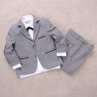 Wholesale 2 Y Small lattice cocuk giyim boys blazers wedding suit boys set child suits flower boys formal sets costume suit set