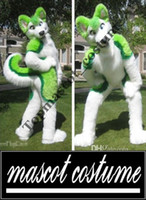Wholesale green husky fursuit Mascot Costume plush Adult Size Halloween XMAS party Costumes High Quality