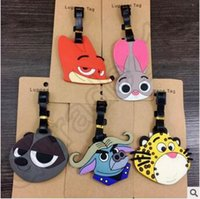 Wholesale 100pcs CCA4262 High Quality Zootopia Silicone Luggage Tag Name Label Nick Wilde Hopps Travel Suitcase Tag D Zootopia Luggage Tag