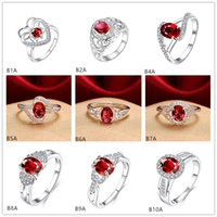 Wholesale Carved designs Twisted red gemstone silver ring GTGR1 high grade sterling silver ring pieces mixed style