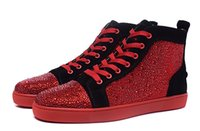 Wholesale 2016 New Mens Womens Fashion Rhinetone High Top Red Bottom Casual Shoes Crystal Genuine Leather Flat Sneakers Size