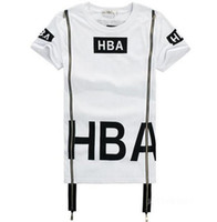 Wholesale HBA Men Fashion Hip Hop T Shirt Zipper Side HBA Hood By Air Harajuku t shirts for men Spinal Cord X ray Streetwear PYREX Tees
