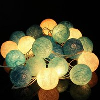Wholesale New Arrival Fabric Cotton Balls String Fairy LED Christmas Lights outrdoor Xmas Halloween Wedding Party light Home Decor Gift Lamp Bulb
