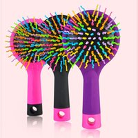 Wholesale Rainbow Volume Tangle Detangling Hair Brush Detangle Hair Effortlessly Wet Or Dry Hair Comb With Mirror For Kids Adults