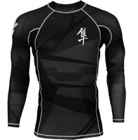 Wholesale hot sale long sleeve sublimated hayabusa mma rash guard bjj brazilian jiu jitsu body shaper compression t shirts black