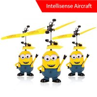 Wholesale Minions Aircraft Despicable Me Flying Ball Avengers RC Helicopter Aircraft Kids Induction Motor Childrens Day Gift Boys Toy Present Model