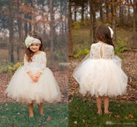 Wholesale Cute Ball Gown Boho Country Wedding Flower Girl Dresses Illusion Long Sleeve Tulle Skirts Tea Length Cheap Baby Kids Communion Dresses