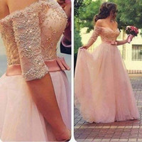 beads nz - 2017 Middle East Arabic Long Evening Dresses Off the shoulder Half Sleeves Lace Tulle Beads Pearls Ribbons Long Prom Dresses Pageant Gown NZ