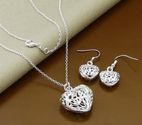 bead gift items - Hot Sale Items Heart pendant Necklace Beads Ball Jewelry set Silver Plated Necklace Earrings