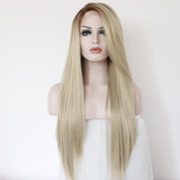 Wholesale Handmade straight Ombre brown blonde Synthetic Lace Front Wig Heat Resistant for White Women Long Natural Wigs