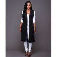 Wholesale 2016 autumn new women Long Vest Woman Sleeveless ladies split Plus Size Long Waistcoat Vest Outerwear