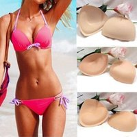 Wholesale 1 Pair Sponge Swimsuit Padding Inserts Breast Enhancer To Bra Push Up Breast Bikini Padding Removeable Bra Pads for Women
