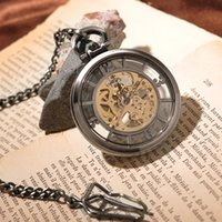 london necklace - Black Round Steampunk Skeleton Retro Pocket Watch With Chain Necklace Vine Antique Cool Royal London Eyes Pocket Watch