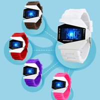airplane pins - 2016 New Arrival Model Colors LED Digital Watches Cool Airplane Design Men Watches with Alarm Backlight Silicone Jelly Fashion Wristwatch