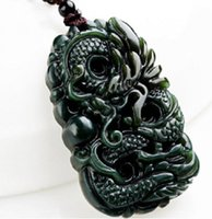 hand carved jade - Natural Green Hand carved Chinese Hetian Jade Pendant Dragon Free Necklace