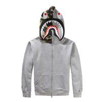 full zip hoodie - 3 Colors Japanese styles Shark Hoodie Men Women fashion Harajuku fun Cartoon Sweatshirts Full Zip Hoodie Cardigan Sweatshirt Coats LA218