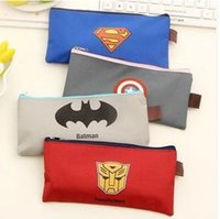 Wholesale Children Pencil bags Superman Batman Captain America Transformers Zipper Pencils Box Stationery Bag Storage Pencil Cases School Supplies