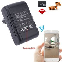 Wholesale HD P Hidden Spy Camera WIFI Charger Camera Mini Camcorder Nanny Camera US EU Plug Remote View by DHL
