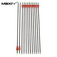 Wholesale Maxin Bow Arrows pack Inch Long New Red Vanes Carbon Shaft Crossbows Arrow Hunting for Archery Cross Bow Free A