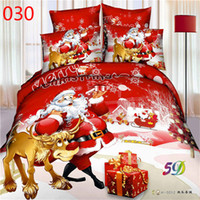 bedsheet wholesales - Bed New D oil painting bedding set rose flower Father Christmas cotton queen size duvet cover bedsheet pillowcase hoem textiles