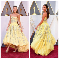 beautiful oscar dresses - 2016 Beautiful Alicia Vikander th Oscar Evening Dresses Yellow A Line Strapless Hi lo Red Carpet Runaway Party Prom Formal Gowns
