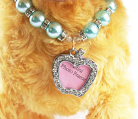 apple dog collar - Cute Pearl Dog Cat Collar With Diamond Apple Shape Tag Mini Frame Luxury Pearl Pet Necklace Color S Size Mix Order Min Order
