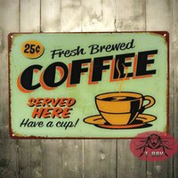 Wholesale The Fresh Brewed Coffee Served here Tin plate Sign Garage shop man cave Retro Metal Art Poster F