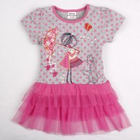 Cheap nova 2-6Y 2015 flower brief grey Embroidered All over polka dot printing latest girls dresses made in China