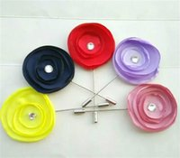 Wholesale 20 colors fabric flower pins women and men s lapel rose pins red white yellow black brown pink blue purple beige silver