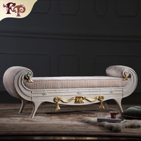 bedroom chaise - Versailles bed end bench French classic furniture European classic antique bedroom furniture luxury solid wood bed end bench