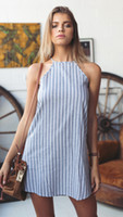 Wholesale 2016 Hot Sales Women Ladies Casual Mini Dress Skirts Chiffon Strap Tassel Stripe Beach Summer Sexy