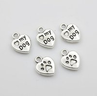Wholesale 100Pcs mm Retro Style Antique Silver Love My Dog Paw Prints Heart Charm Pendant Beads Jewlery Findings Making