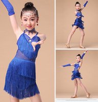 Wholesale Children s Latin Dance Dress Wear Sets Latin Dance Asymmetric Fringe City Dress cm cm