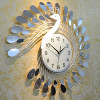 Wholesale Fashion Peacock Design Silent Wall Clock Creative Craft Clocks for High Grade Living Room Bedroom Decor