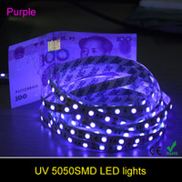 Wholesale 5M UV Ultraviolet LED Strip Light DC V Led Non waterpoof Led Flexible Tape Ribbon can identify money