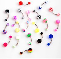 Wholesale 2016 Navel Bell Button Rings Acrylic Ball Navel Piercing Stainless Steel Navel Rings Body Piercing Jewelry No Fade
