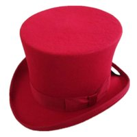 Wholesale cm inch Color Steampunk Hat Wool Fedoras Mad Hatter Top Hat Victorian Male Millinery Traditional Magic Magician Caps