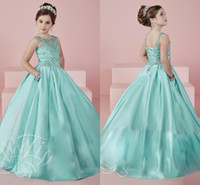 aqua flowers - Aqua Blue Flower Girls Dresses Scoop Pageant Dress for Little Girls Kids Evening prom Gowns infant todder teens pageant gowns