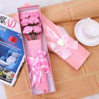 bath oil with flower - 6pcs Carnation Soap Flower with Gift Box Birthday Teacher s Mothers Day Romantic Wedding Scented Essential Oil Set Bath